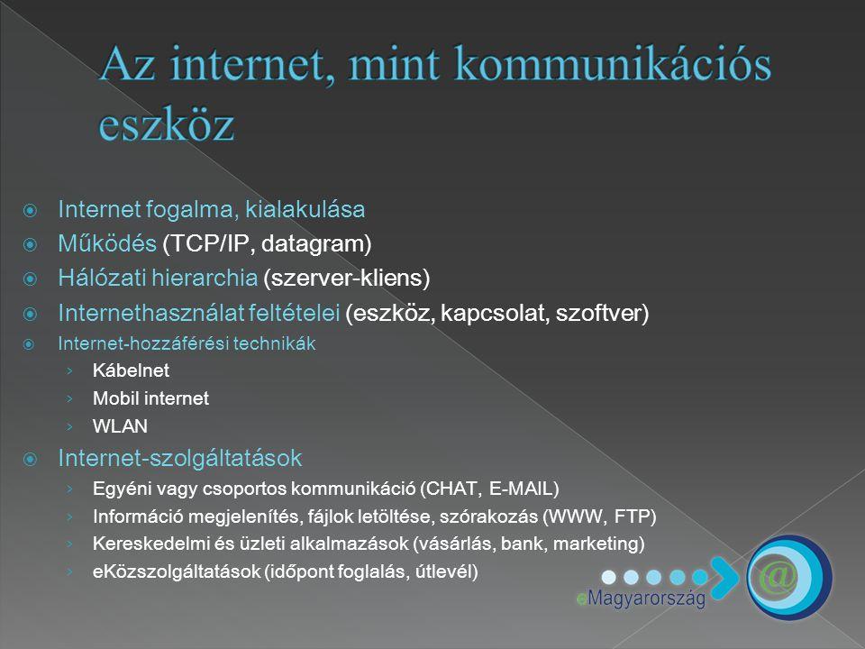  Internet fogalma, kialakulása  Működés (TCP/IP, datagram)  Hálózati hierarchia (szerver-kliens)  Internethasználat feltételei (eszköz, kapcsolat,