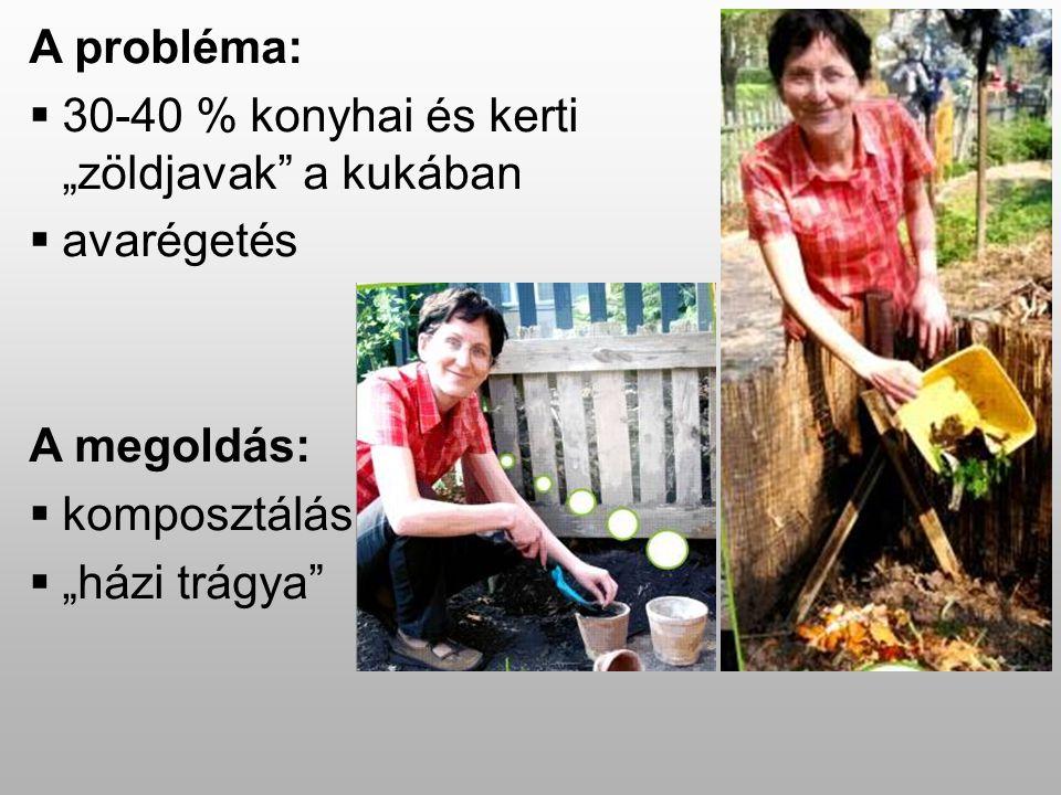 """A probléma:  30-40 % konyhai és kerti """"zöldjavak a kukában  avarégetés A megoldás:  komposztálás  """"házi trágya"""