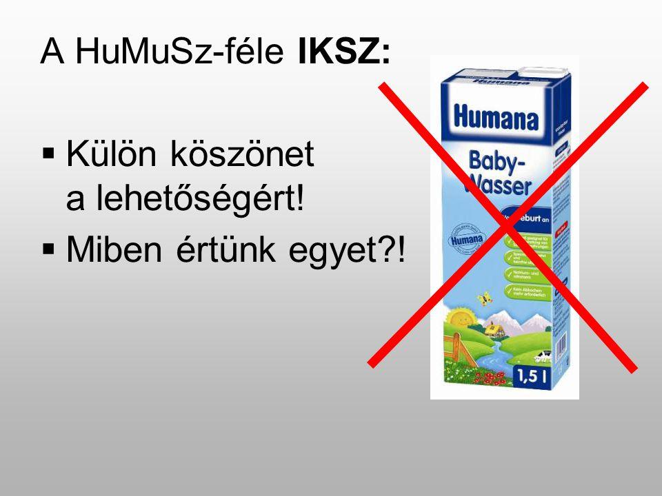 A HuMuSz-féle IKSZ:  Külön köszönet a lehetőségért!  Miben értünk egyet?!