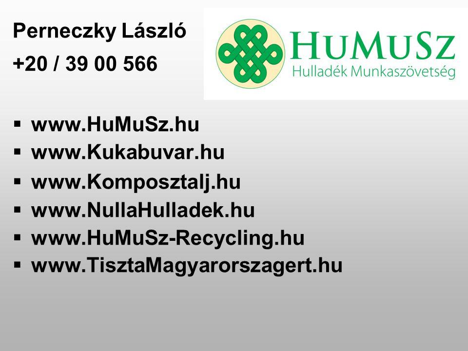 Perneczky László +20 / 39 00 566  www.HuMuSz.hu  www.Kukabuvar.hu  www.Komposztalj.hu  www.NullaHulladek.hu  www.HuMuSz-Recycling.hu  www.TisztaMagyarorszagert.hu