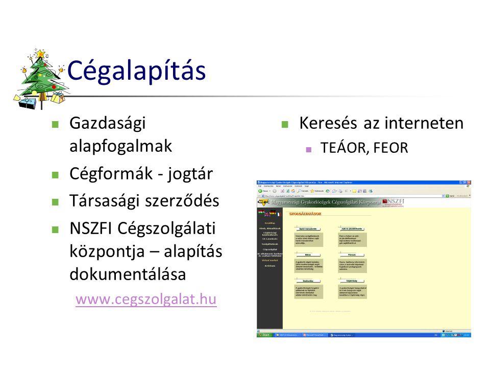 Cégalapítás  Gazdasági alapfogalmak  Cégformák - jogtár  Társasági szerződés  NSZFI Cégszolgálati központja – alapítás dokumentálása www.cegszolga
