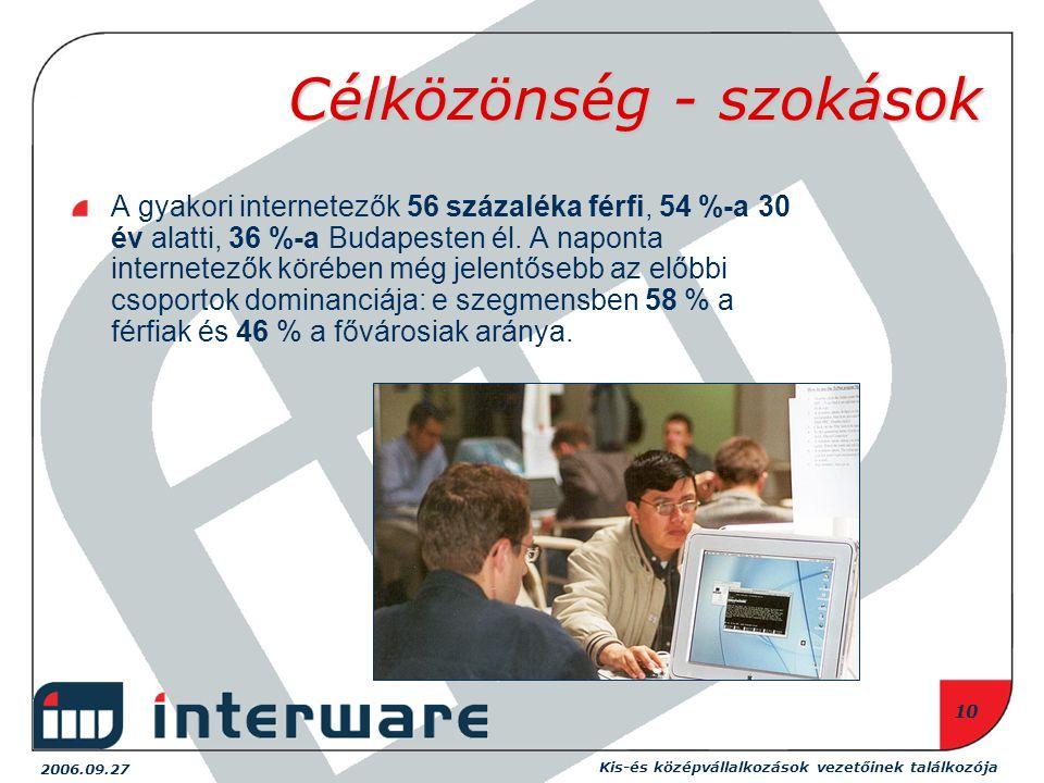 2006.09.27 Kis-és középvállalkozások vezetőinek találkozója 10 Célközönség - szokások A gyakori internetezők 56 százaléka férfi, 54 %-a 30 év alatti, 36 %-a Budapesten él.