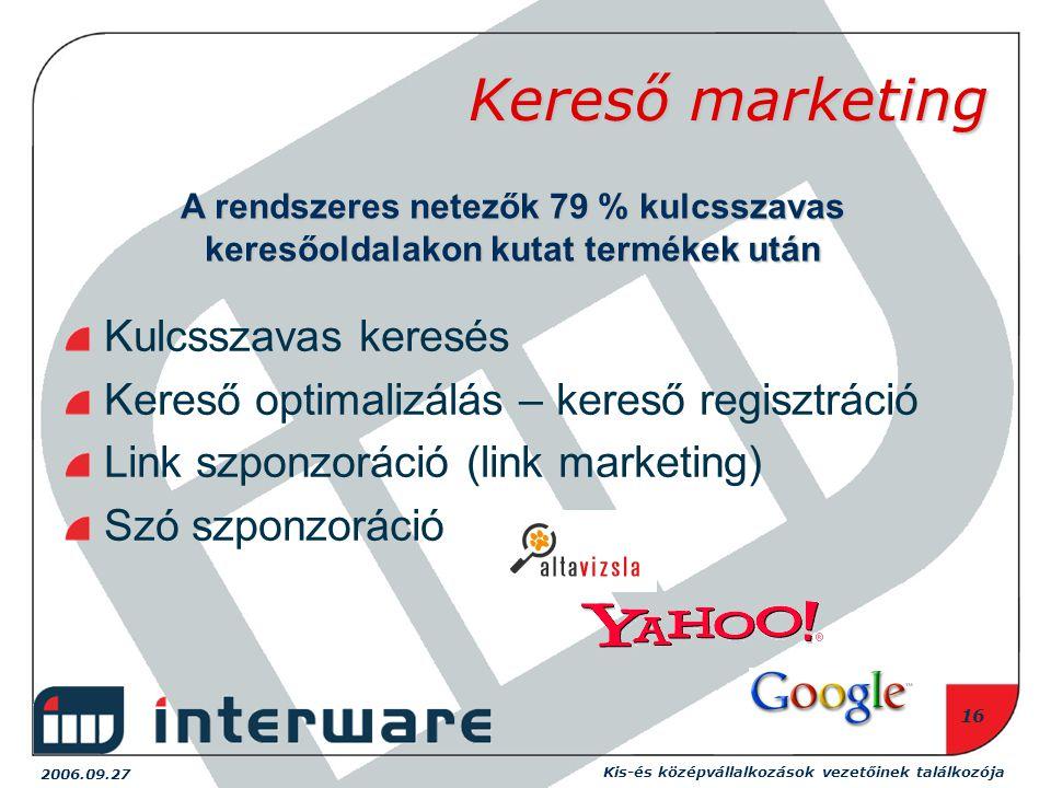 2006.09.27 Kis-és középvállalkozások vezetőinek találkozója 16 Kereső marketing Kulcsszavas keresés Kereső optimalizálás – kereső regisztráció Link szponzoráció (link marketing) Szó szponzoráció A rendszeres netezők 79 % kulcsszavas keresőoldalakon kutat termékek után