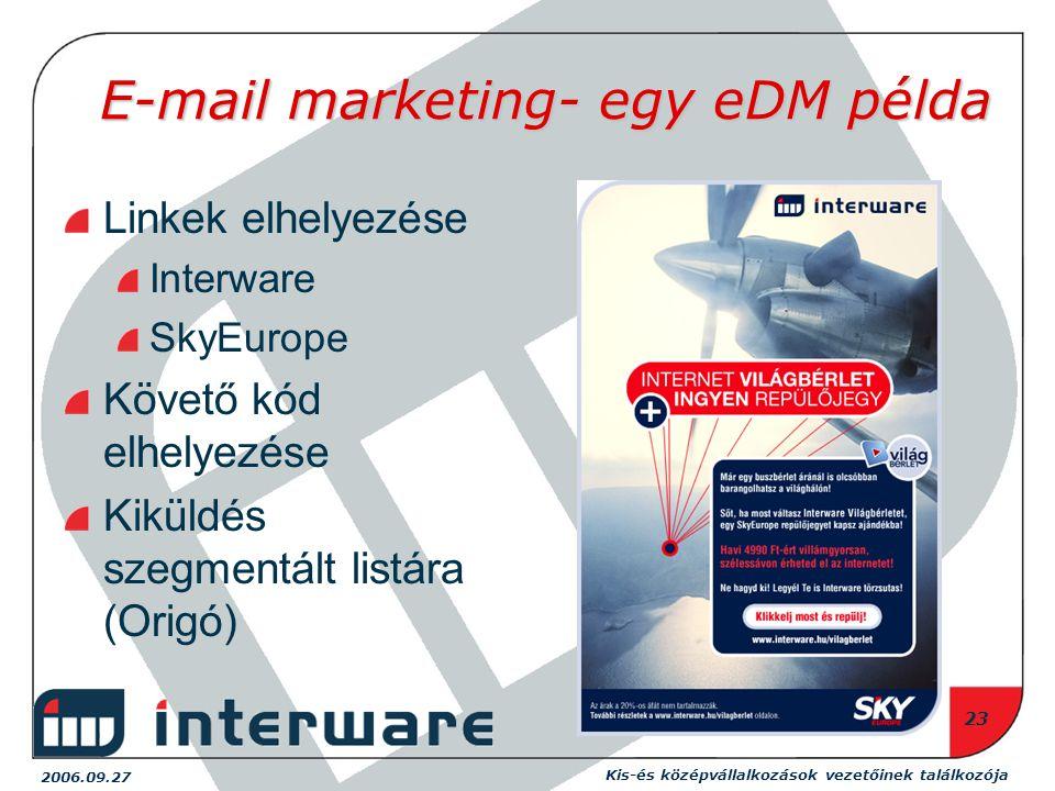 2006.09.27 Kis-és középvállalkozások vezetőinek találkozója 23 E-mail marketing- egy eDM példa Linkek elhelyezése Interware SkyEurope Követő kód elhelyezése Kiküldés szegmentált listára (Origó)
