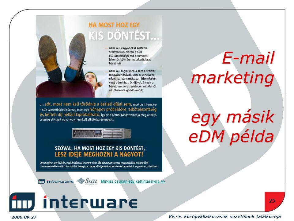 2006.09.27 Kis-és középvállalkozások vezetőinek találkozója 25 Mindez csupán egy kattintásnyira >> E-mail marketing egy másik eDM példa