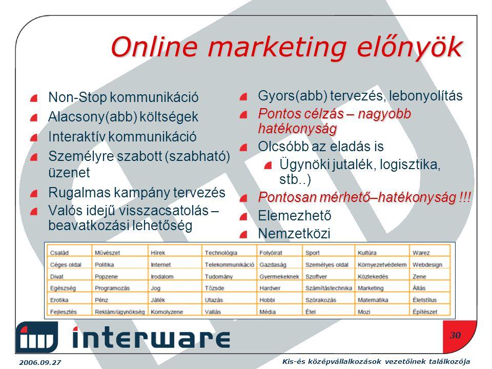 2006.09.27 Kis-és középvállalkozások vezetőinek találkozója 30 Online marketing előnyök Non-Stop kommunikáció Alacsony(abb) költségek Interaktív kommunikáció Személyre szabott (szabható) üzenet Rugalmas kampány tervezés Valós idejű visszacsatolás – beavatkozási lehetőség Gyors(abb) tervezés, lebonyolítás Pontos célzás – nagyobb hatékonyság Olcsóbb az eladás is Ügynöki jutalék, logisztika, stb..) Pontosan mérhető–hatékonyság !!.