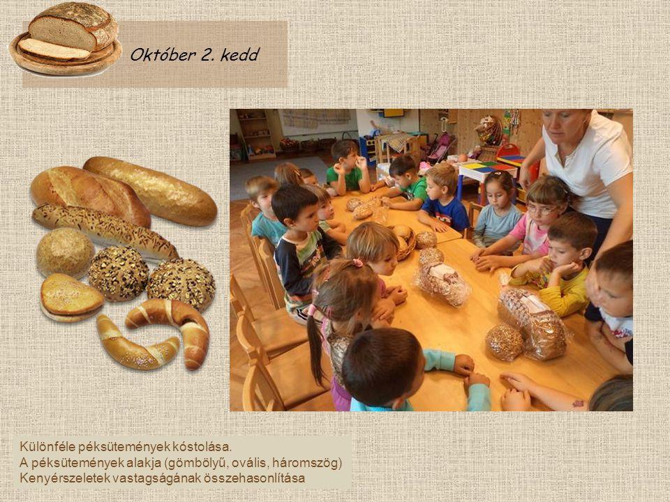 Október 2. kedd Különféle péksütemények kóstolása. A péksütemények alakja (gömbölyű, ovális, háromszög) Kenyérszeletek vastagságának összehasonlítása