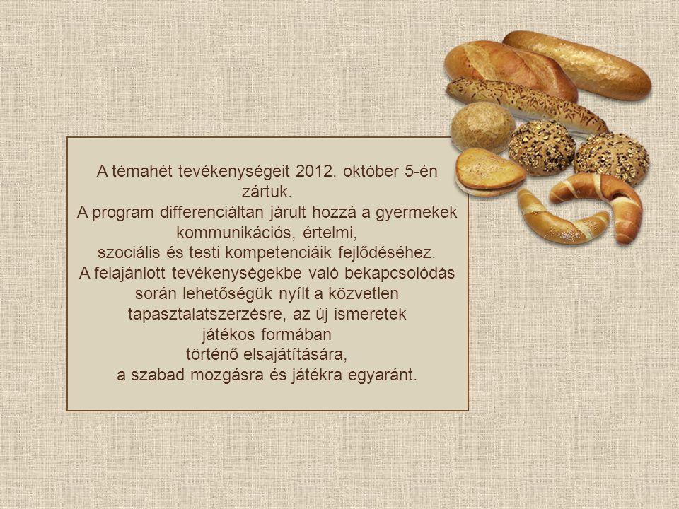 A témahét tevékenységeit 2012. október 5-én zártuk. A program differenciáltan járult hozzá a gyermekek kommunikációs, értelmi, szociális és testi komp