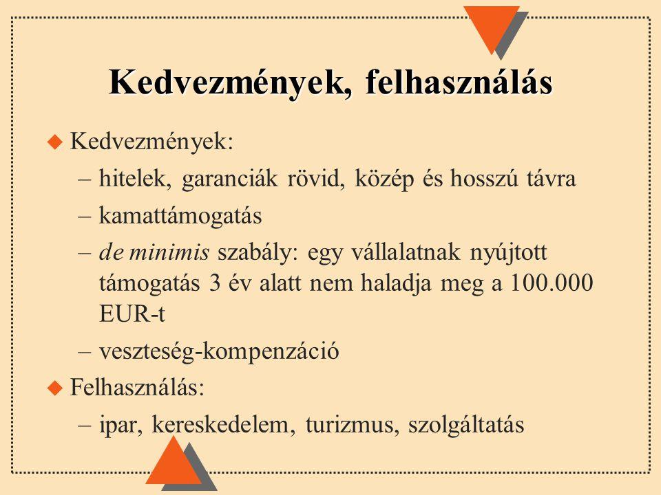Kedvezmények, felhasználás u Kedvezmények: –hitelek, garanciák rövid, közép és hosszú távra –kamattámogatás –de minimis szabály: egy vállalatnak nyújtott támogatás 3 év alatt nem haladja meg a 100.000 EUR-t –veszteség-kompenzáció u Felhasználás: –ipar, kereskedelem, turizmus, szolgáltatás