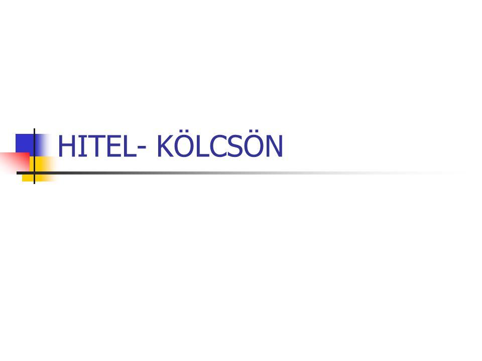 HITEL- KÖLCSÖN