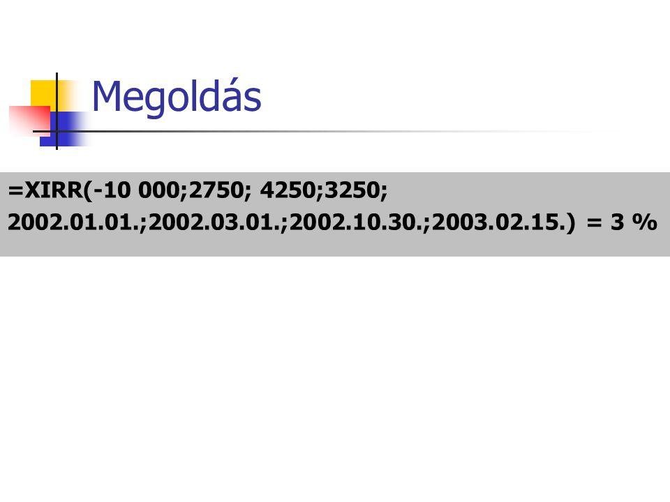 Megoldás =XIRR(-10 000;2750; 4250;3250; 2002.01.01.;2002.03.01.;2002.10.30.;2003.02.15.) = 3 %