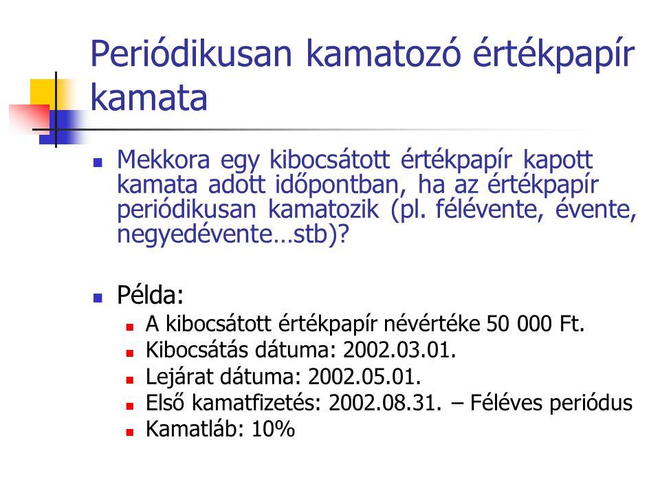 Periódikusan kamatozó értékpapír kamata  Mekkora egy kibocsátott értékpapír kapott kamata adott időpontban, ha az értékpapír periódikusan kamatozik (pl.