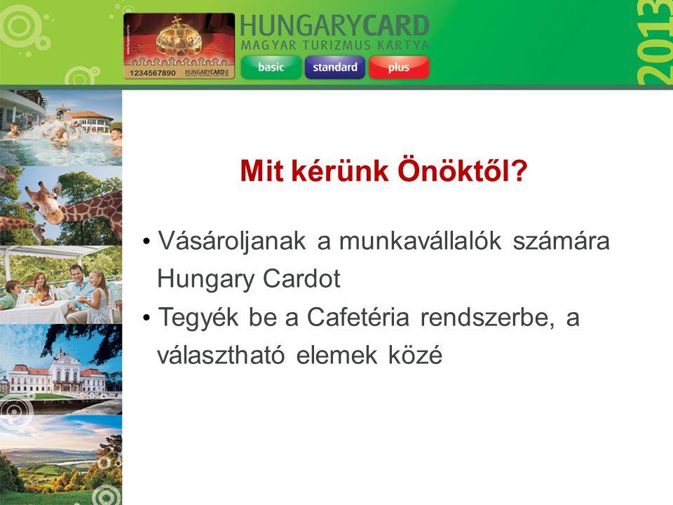 • Vásároljanak a munkavállalók számára Hungary Cardot • Tegyék be a Cafetéria rendszerbe, a választható elemek közé Mit kérünk Önöktől?