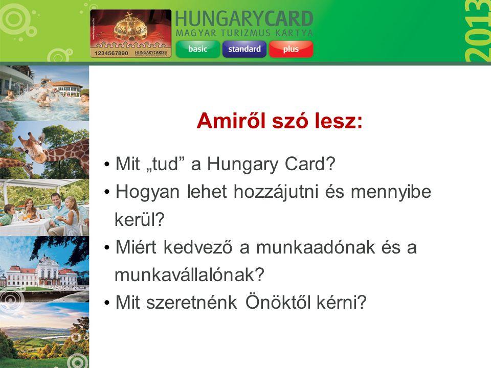 """• Mit """"tud"""" a Hungary Card? • Hogyan lehet hozzájutni és mennyibe kerül? • Miért kedvező a munkaadónak és a munkavállalónak? • Mit szeretnénk Önöktől"""