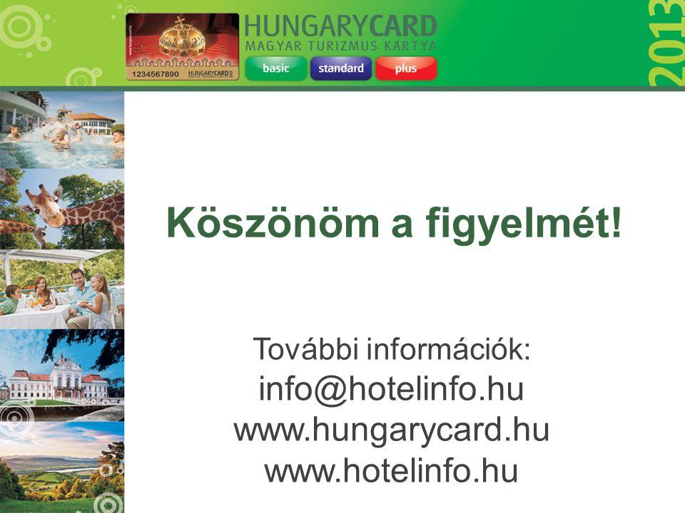 További információk: info@hotelinfo.hu www.hungarycard.hu www.hotelinfo.hu Köszönöm a figyelmét!