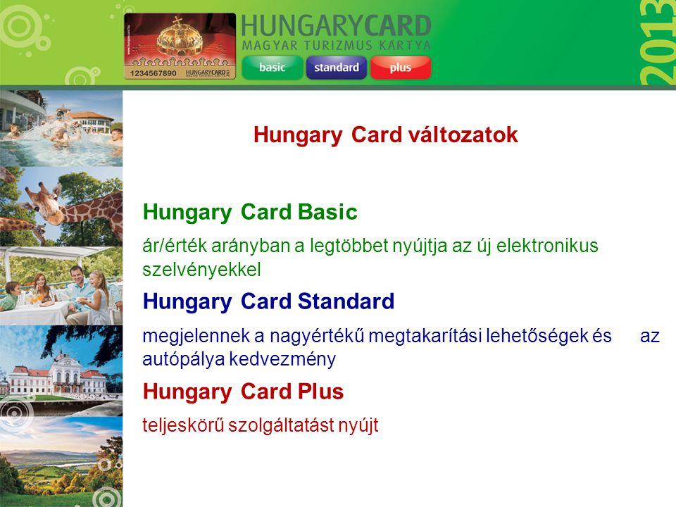 Hungary Card Basic ár/érték arányban a legtöbbet nyújtja az új elektronikus szelvényekkel Hungary Card Standard megjelennek a nagyértékű megtakarítási