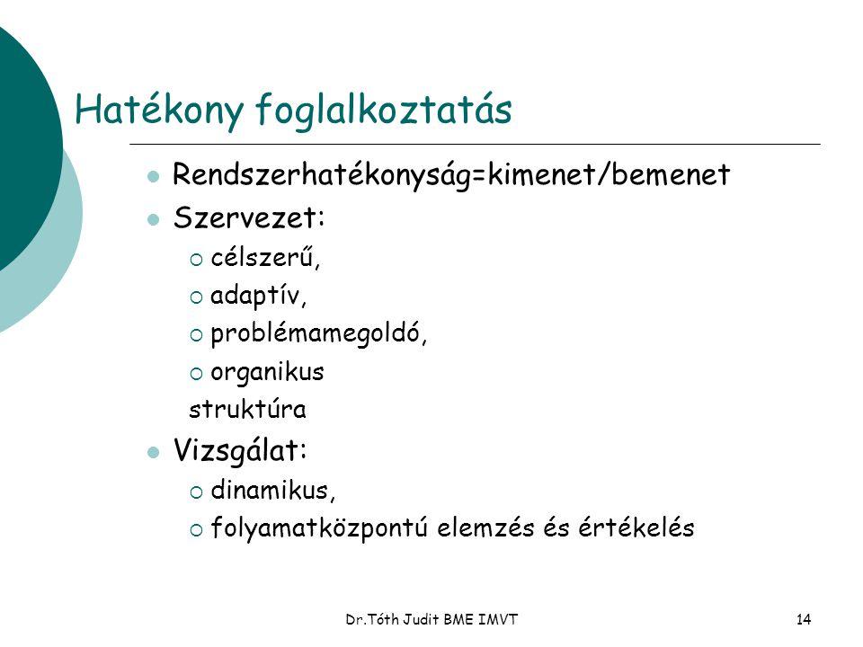 Dr.Tóth Judit BME IMVT14 Hatékony foglalkoztatás  Rendszerhatékonyság=kimenet/bemenet  Szervezet:  célszerű,  adaptív,  problémamegoldó,  organi