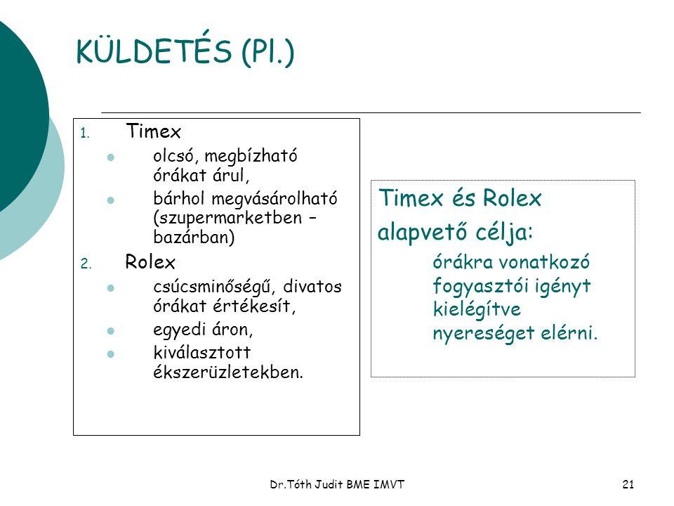 Dr.Tóth Judit BME IMVT21 KÜLDETÉS (Pl.) 1. Timex  olcsó, megbízható órákat árul,  bárhol megvásárolható (szupermarketben – bazárban) 2. Rolex  csúc