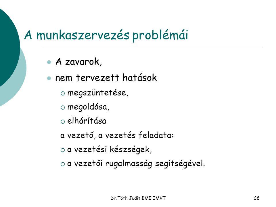 Dr.Tóth Judit BME IMVT28 A munkaszervezés problémái  A zavarok,  nem tervezett hatások  megszüntetése,  megoldása,  elhárítása a vezető, a vezeté