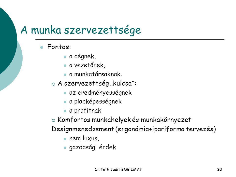 """Dr.Tóth Judit BME IMVT30 A munka szervezettsége  Fontos:  a cégnek,  a vezetőnek,  a munkatársaknak.  A szervezettség """"kulcsa"""":  az eredményessé"""