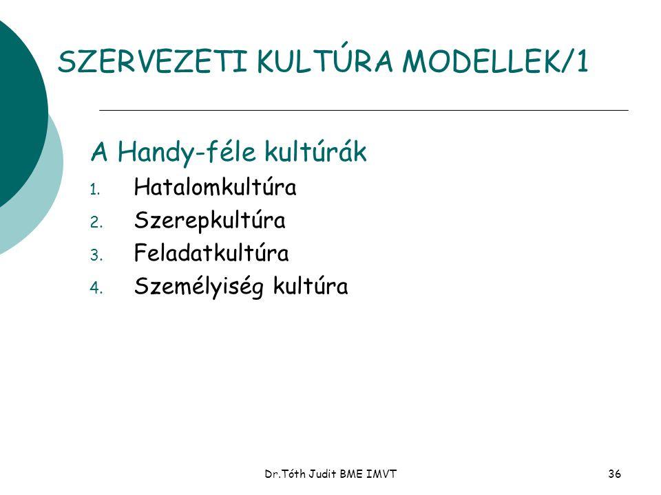 Dr.Tóth Judit BME IMVT36 SZERVEZETI KULTÚRA MODELLEK/1 A Handy-féle kultúrák 1. Hatalomkultúra 2. Szerepkultúra 3. Feladatkultúra 4. Személyiség kultú