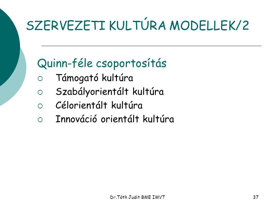 Dr.Tóth Judit BME IMVT37 Quinn-féle csoportosítás  Támogató kultúra  Szabályorientált kultúra  Célorientált kultúra  Innováció orientált kultúra S