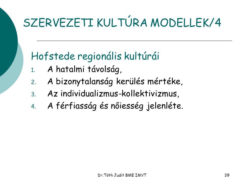 Dr.Tóth Judit BME IMVT39 Hofstede regionális kultúrái 1. A hatalmi távolság, 2. A bizonytalanság kerülés mértéke, 3. Az individualizmus-kollektivizmus
