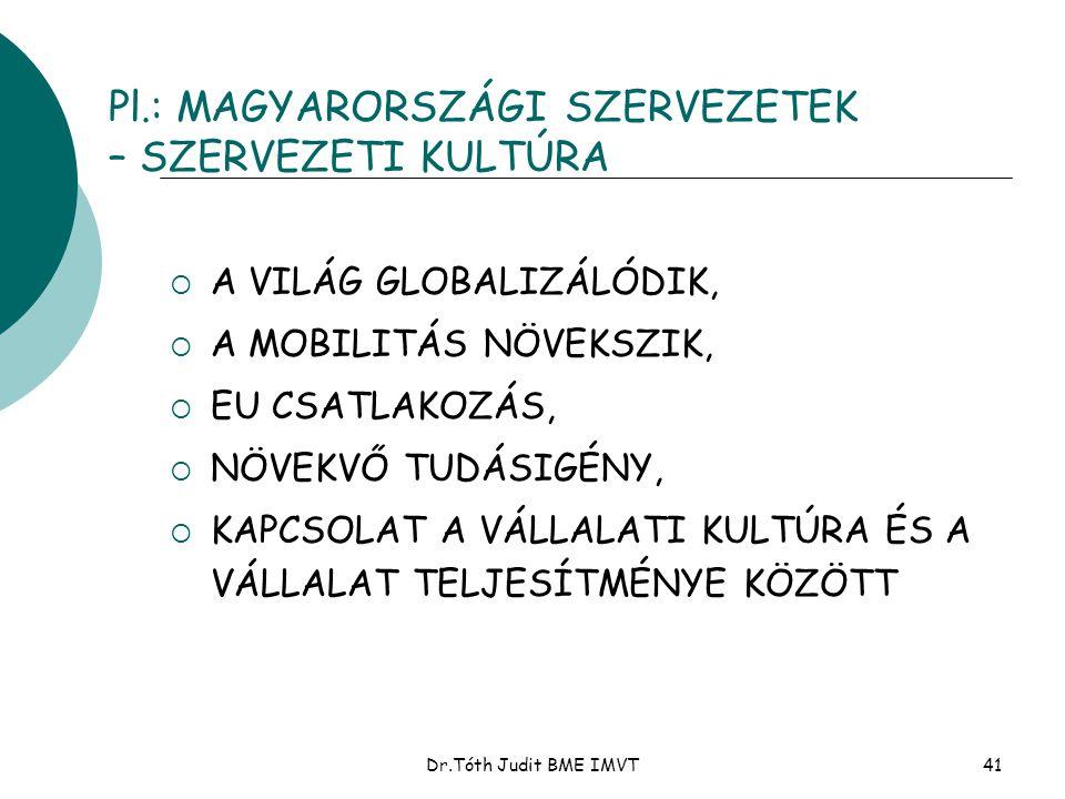 Dr.Tóth Judit BME IMVT41 Pl.: MAGYARORSZÁGI SZERVEZETEK – SZERVEZETI KULTÚRA  A VILÁG GLOBALIZÁLÓDIK,  A MOBILITÁS NÖVEKSZIK,  EU CSATLAKOZÁS,  NÖ