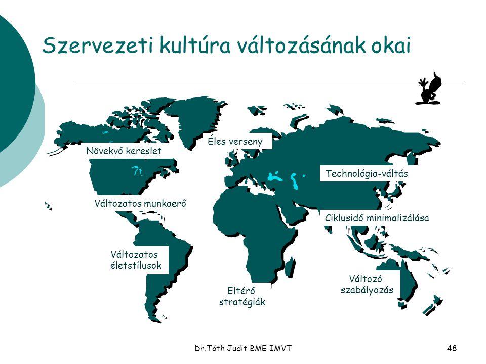 Dr.Tóth Judit BME IMVT48 Szervezeti kultúra változásának okai Növekvő kereslet Változatos munkaerő Változatos életstílusok Eltérő stratégiák Éles vers