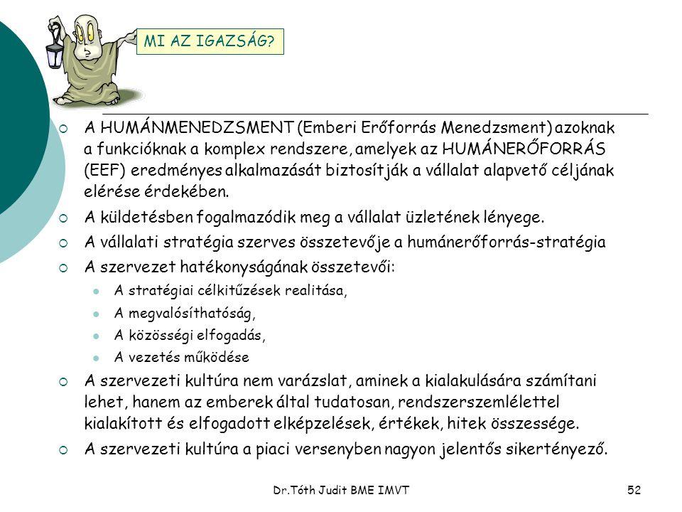 Dr.Tóth Judit BME IMVT52  A HUMÁNMENEDZSMENT (Emberi Erőforrás Menedzsment) azoknak a funkcióknak a komplex rendszere, amelyek az HUMÁNERŐFORRÁS (EEF