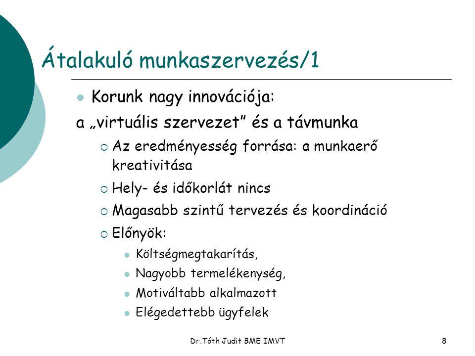 """Dr.Tóth Judit BME IMVT8 Átalakuló munkaszervezés/1  Korunk nagy innovációja: a """"virtuális szervezet"""" és a távmunka  Az eredményesség forrása: a munk"""