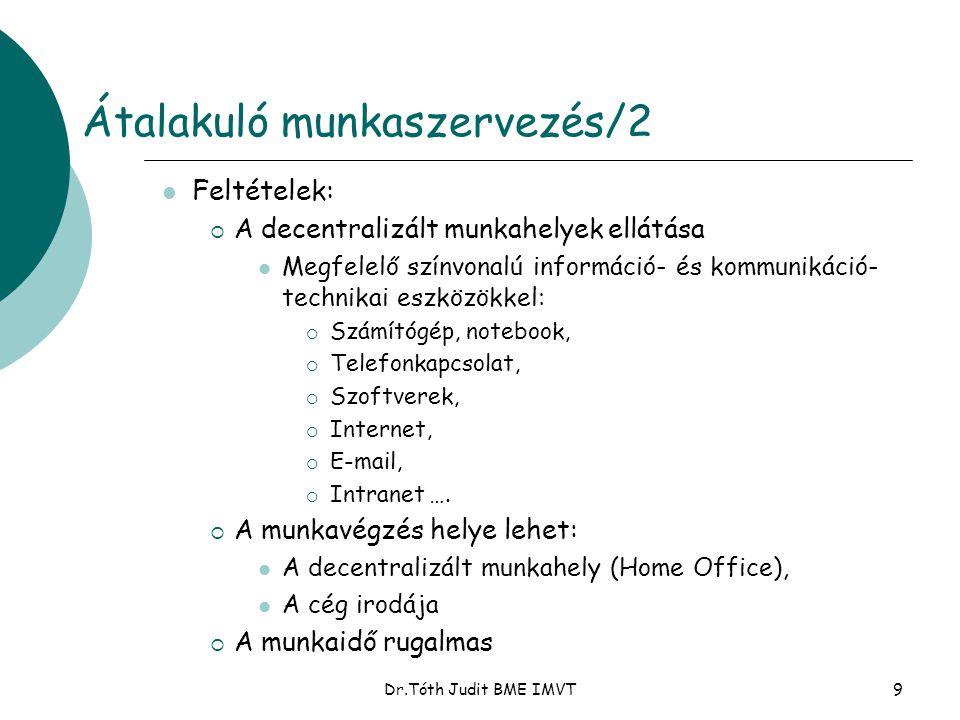 Dr.Tóth Judit BME IMVT9 Átalakuló munkaszervezés/2  Feltételek:  A decentralizált munkahelyek ellátása  Megfelelő színvonalú információ- és kommuni