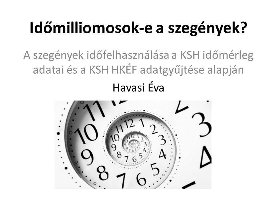Időmilliomosok-e a szegények? A szegények időfelhasználása a KSH időmérleg adatai és a KSH HKÉF adatgyűjtése alapján Havasi Éva