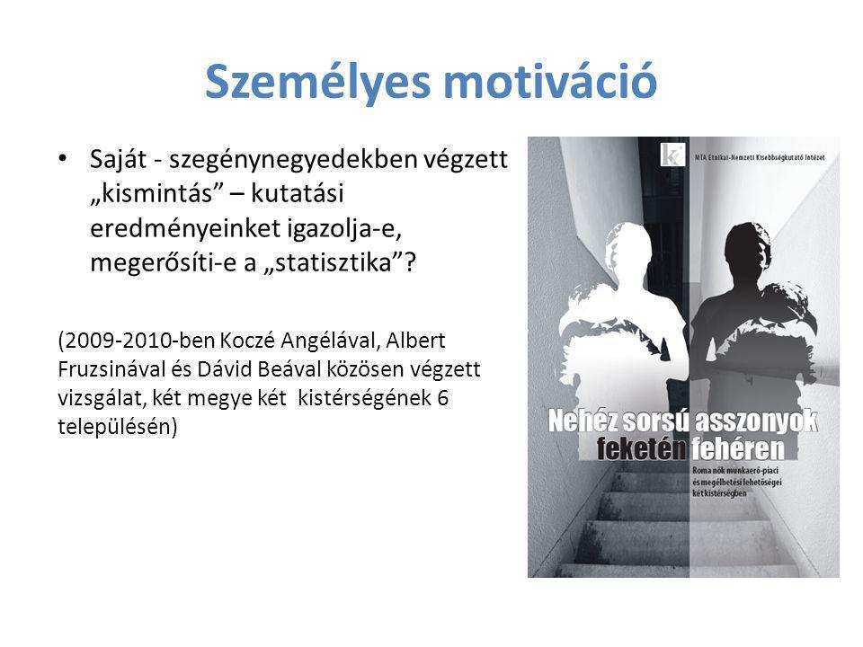 """Személyes motiváció • Saját - szegénynegyedekben végzett """"kismintás"""" – kutatási eredményeinket igazolja-e, megerősíti-e a """"statisztika""""? (2009-2010-be"""