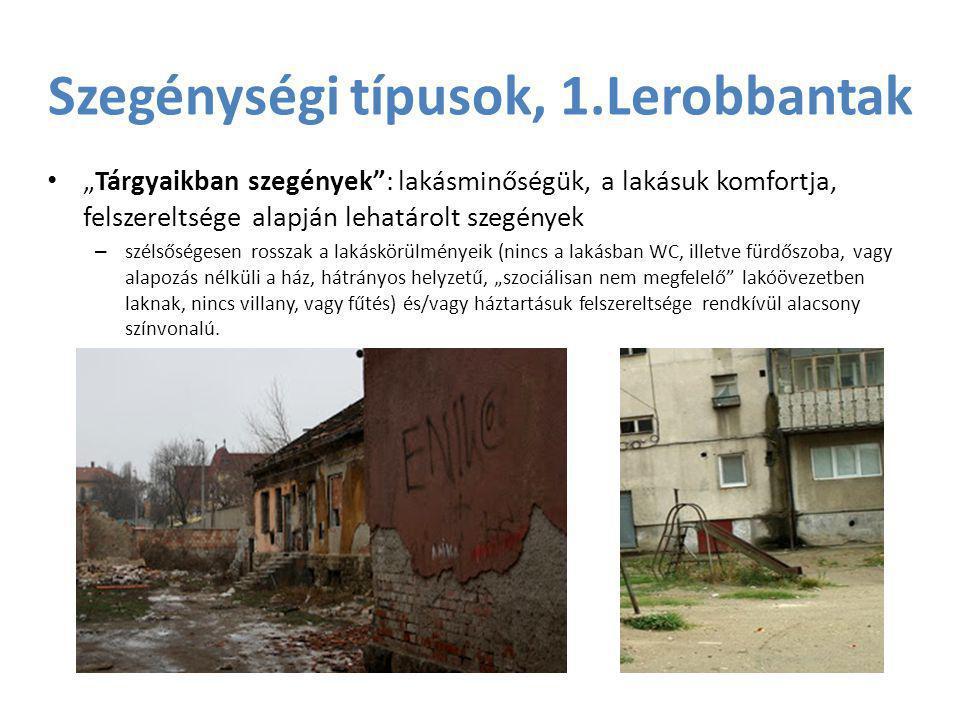 """Szegénységi típusok, 1.Lerobbantak • """"Tárgyaikban szegények"""": lakásminőségük, a lakásuk komfortja, felszereltsége alapján lehatárolt szegények – széls"""