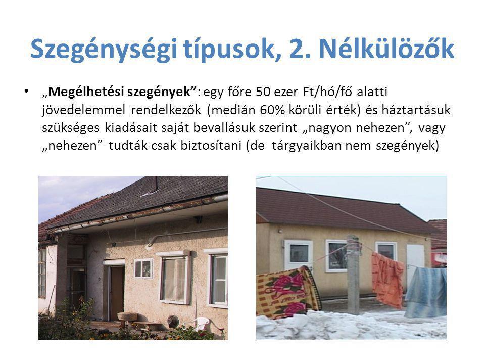 """Szegénységi típusok, 2. Nélkülözők • """"Megélhetési szegények"""": egy főre 50 ezer Ft/hó/fő alatti jövedelemmel rendelkezők (medián 60% körüli érték) és h"""