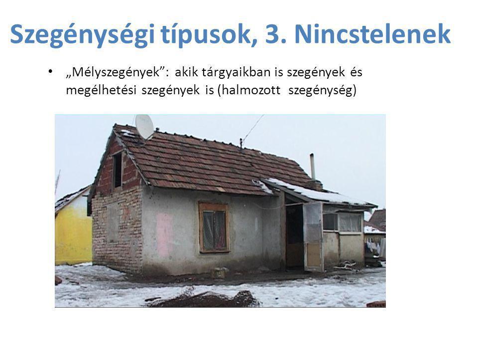 """Szegénységi típusok, 3. Nincstelenek • """"Mélyszegények"""": akik tárgyaikban is szegények és megélhetési szegények is (halmozott szegénység)"""