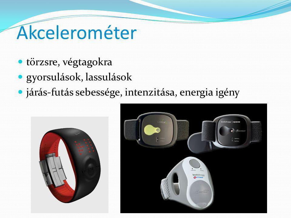 Akcelerométer  törzsre, végtagokra  gyorsulások, lassulások  járás-futás sebessége, intenzitása, energia igény