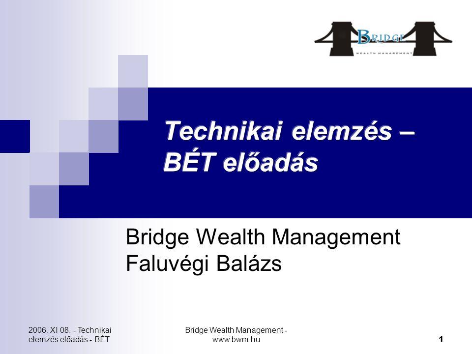 2006. XI 08. - Technikai elemzés előadás - BÉT Bridge Wealth Management - www.bwm.hu 1 Bridge Wealth Management Faluvégi Balázs
