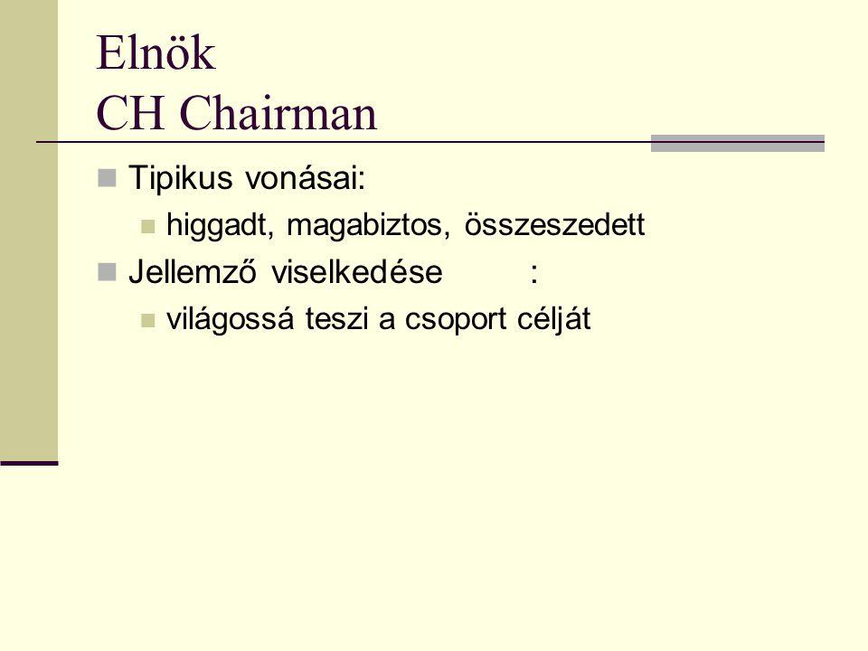 Elnök CH Chairman  Tipikus vonásai:  higgadt, magabiztos, összeszedett  Jellemző viselkedése:  világossá teszi a csoport célját