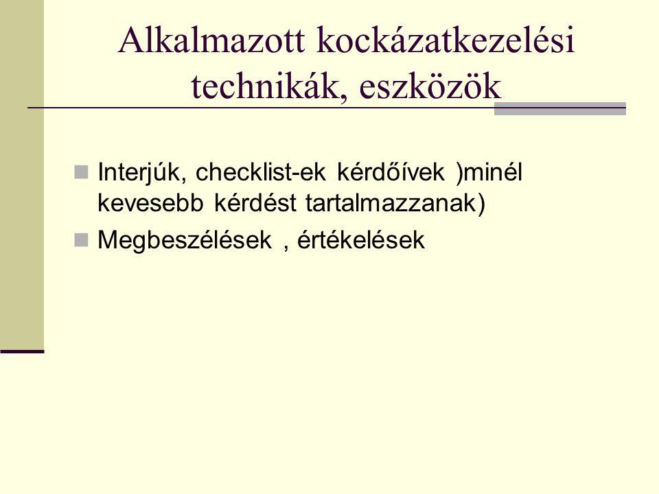 Alkalmazott kockázatkezelési technikák, eszközök  Interjúk, checklist-ek kérdőívek )minél kevesebb kérdést tartalmazzanak)  Megbeszélések, értékelés