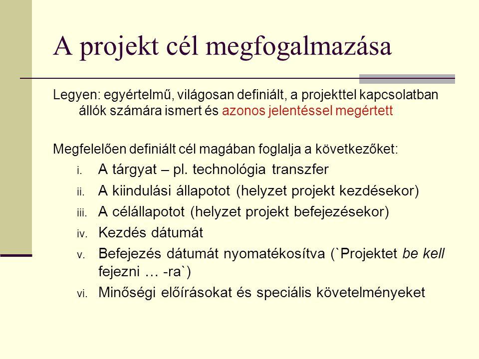 A projekt cél megfogalmazása Legyen: egyértelmű, világosan definiált, a projekttel kapcsolatban állók számára ismert és azonos jelentéssel megértett M
