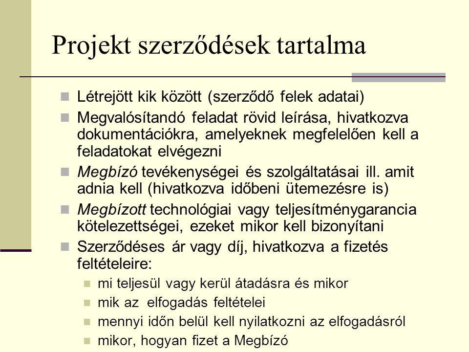 Projekt szerződések tartalma  Létrejött kik között (szerződő felek adatai)  Megvalósítandó feladat rövid leírása, hivatkozva dokumentációkra, amelye
