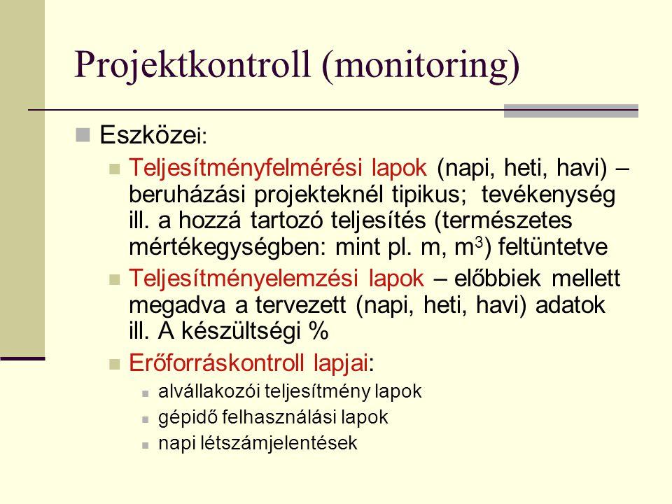 Projektkontroll (monitoring)  Eszköze i:  Teljesítményfelmérési lapok (napi, heti, havi) – beruházási projekteknél tipikus; tevékenység ill. a hozzá