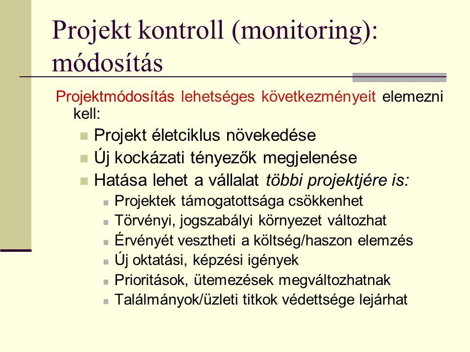 Projekt kontroll (monitoring): módosítás Projektmódosítás lehetséges következményeit elemezni kell:  Projekt életciklus növekedése  Új kockázati tén