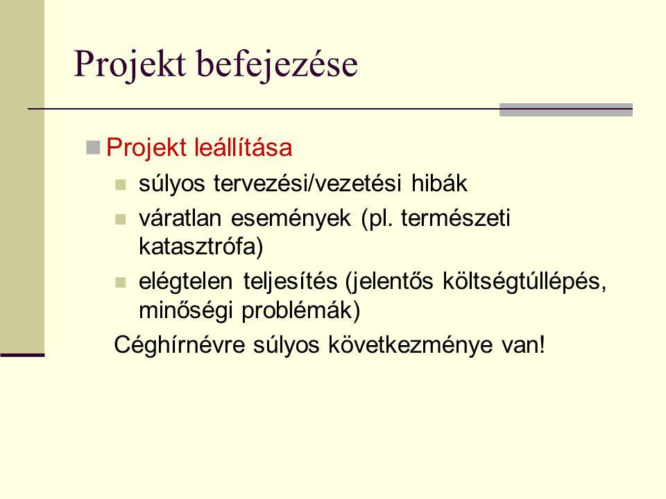 Projekt befejezése  Projekt leállítása  súlyos tervezési/vezetési hibák  váratlan események (pl. természeti katasztrófa)  elégtelen teljesítés (je