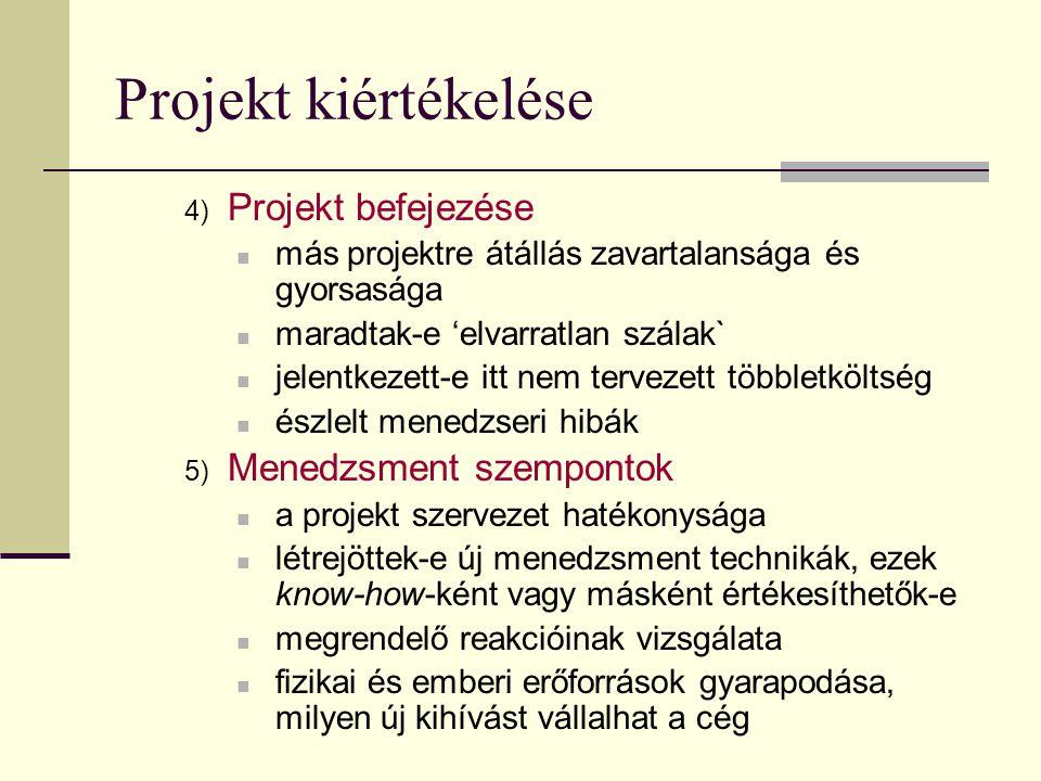 Projekt kiértékelése 4) Projekt befejezése  más projektre átállás zavartalansága és gyorsasága  maradtak-e 'elvarratlan szálak`  jelentkezett-e itt