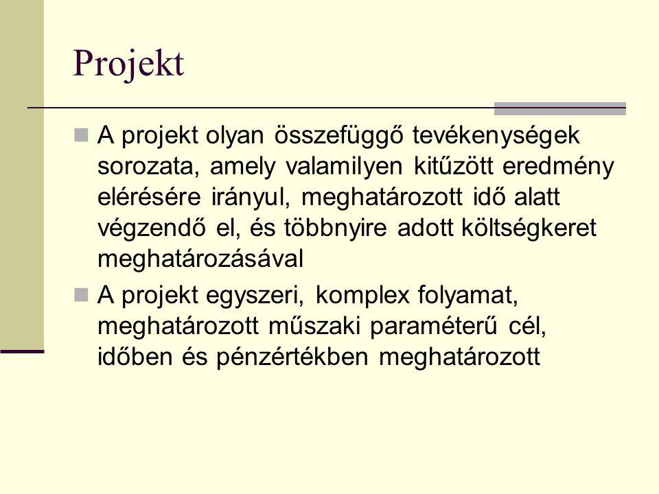Projekt kompetencia, felelősség Függ a projekt méretétől, a külső projektszervezet jellegétől, de általában: Projekt tanács Összesítő erőforrás terv Öszesítő tevékenység terv Indító-, záró-, félidős kiértékelés Projekt menedzser Fázis erőforrás tervek Fázis tevékenység tervek Rendszeres team megbeszélése k Projekt team vezető Részletes erőforrás tervek Részletes tevékenység tervek Rendszeres team megbeszélése k, napi jelentések
