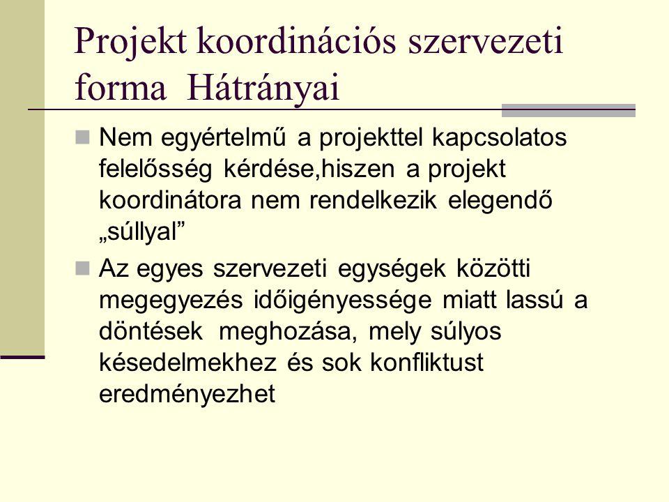 Projekt koordinációs szervezeti forma Hátrányai  Nem egyértelmű a projekttel kapcsolatos felelősség kérdése,hiszen a projekt koordinátora nem rendelk