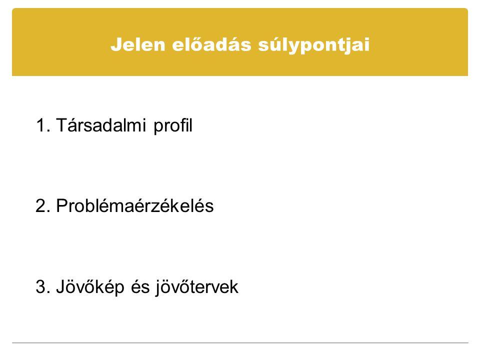 Jelen előadás súlypontjai 1. Társadalmi profil 2. Problémaérzékelés 3. Jövőkép és jövőtervek
